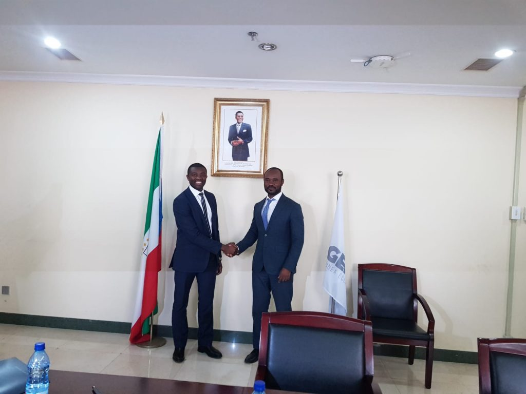 Mr. Agherenwi Neba, Group Managing Director, GLOTECH MARINE (left) and Mr. Antonio Oburu Ondo of Director General/CEO of GEPETROL (right)